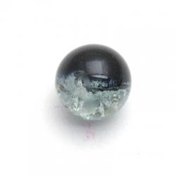 Crackle kraal, rond, zwart, 12 mm (streng)