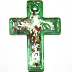 Hanger, kruis, olijfgroen met zilverfolie, 42 x 30 mm (1 st.)