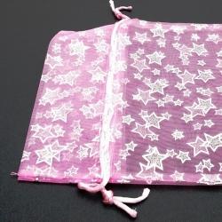 Organzazakjes, roze/zilveren ster, 23 x 16 cm (5 st.)