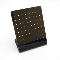 Oorbeldisplay, plexi, zwart, recht, klein, 72 gaatjes (1 st.)
