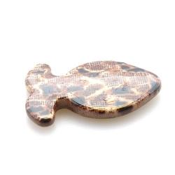 Kunststof kraal vis dierenprint bruin 47 mm (5 st.)