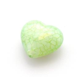 Kunststof kraal hart groen 26 mm (5 st.)