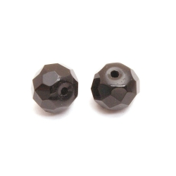 Glaskraal, rond met facetten, zwart, 7 x 9 mm (10 st.)