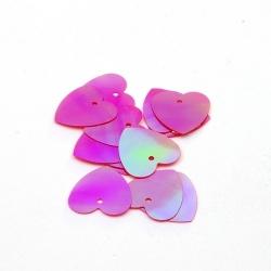 Lovertjes, hart, fuchsia, AB, 16 mm (50 gram)