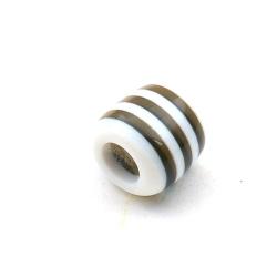 Kunststof kraal groot rijggat (6 mm) cylinder zwart/wit 12 mm (10 st.)