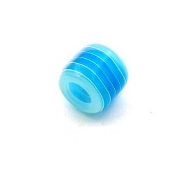 Kunststof kraal met groot rijggat (6 mm), cylinder, blauw/wit, 12 mm (10 st.)
