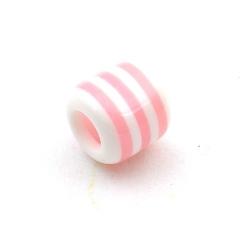 Kunststof kraal met groot rijggat (6 mm), cylinder, roze/wit, 12 mm (10 st.)