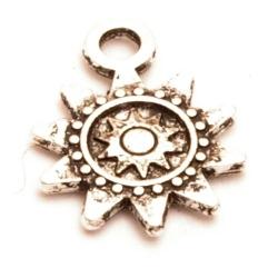 Metaal, bedel, zonnetje, zilver, 18 mm (5 st.)