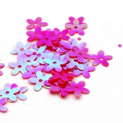 Lovertjes, bloem, roze, AB, 10 mm (50 gram)