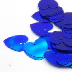 Lovertjes, hart, blauw, AB, 16 mm (50 gram)