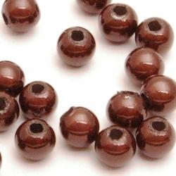 Kunststof kraal rond bruin 3 mm (50 st.)