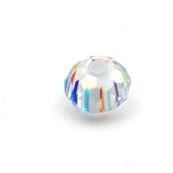 Glaskraal met facetten, donut, wit, 8 x 12 mm (5 st.)