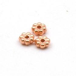 Metallook, spacer, roségoud, rond, 2 x 6 mm (25 st.)