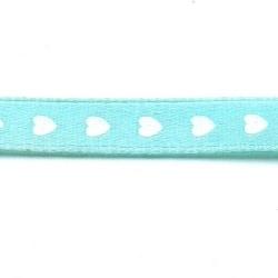 Lint, hartjes, lichtblauw/wit, 10 mm (3 mtr.)