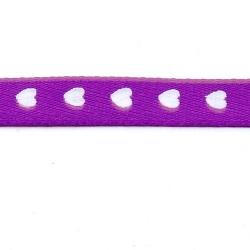Lint, hartjes, paars/wit, 10 mm (3 mtr.)