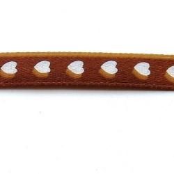 Lint, hartjes, bruin/wit, 10 mm (3 mtr.)