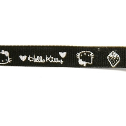 Lint, Hello Kitty, zwart/wit, 10 mm (3 mtr.)