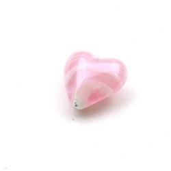 Glaskraal, hart, roze, 14 mm (5 st.)