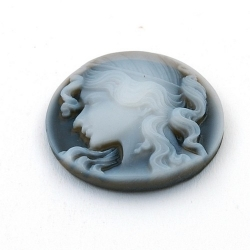Cabochon, kunststof, Camee, rond, antraciet, 31 mm (1 st.)