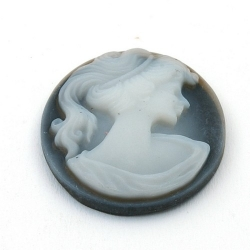 Cabochon, kunststof, Camee, ovaal, antraciet, 38 mm (1 st.)