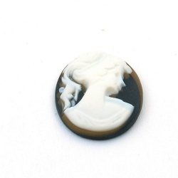 Cabochon, kunststof, Camee, ovaal, zwart, 28 mm (1 st.)