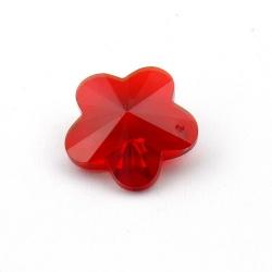 Glashanger, bloem met facetten, rood, 28 mm (1 st.)
