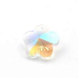 Glashanger, bloem met facetten, chrystal, AB, 28 mm (1 st.)