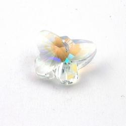 Glashanger, vlinder met facetten, chrystal, AB, 24 x 30 mm (1 st.)