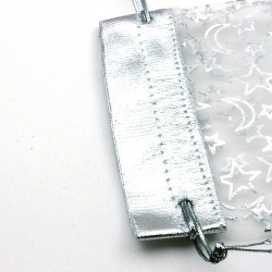 Organzazakjes, wit/zilver, maan,ster, 13 x 10 cm (5 st.)