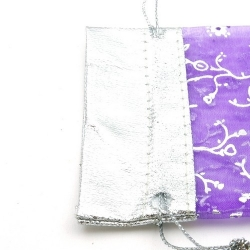 Organzazakjes, paars/zilver, 11,5 x 9 cm (5 st.)