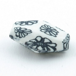 Fimokraal, ovaal, hoekig, wit/zwart, 30 x 12 mm (3 st.)