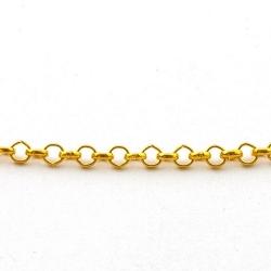Jasseron, rond, goud, 3 mm (5 mtr.)