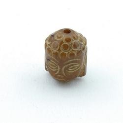 Halfedelsteen kraal, Jade, Boedha, gecarved, bruin, 20 mm (3 st.)