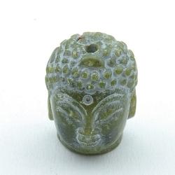 Halfedelsteen kraal, Jade, Boedha, gecarved, groen, 28 mm (1 st.)