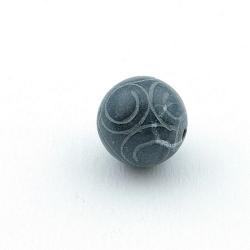 Halfedelsteen kraal, Jade, rond, gecarved, grijs, 16 mm (3 st.)