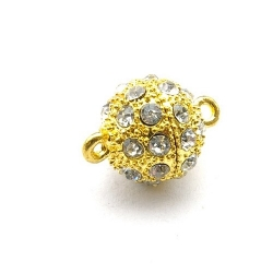 Magneetslot, goud, strass, 18 mm (3 st.)