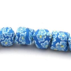 Fimokraal, hoekig, blauw, 14 mm (streng)