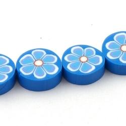 Fimokraal, rond, plat, blauw, 16 mm (streng)