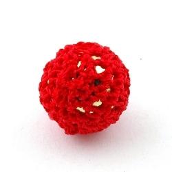 Gehaakte kraal, rond, goudkleurige kern, rood, 20 mm (5 st.)