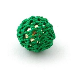 Gehaakte kraal, rond, goudkleurige kern, groen, 20 mm (5 st.)
