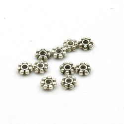 Metaal, spacer, bloem, antique zilver, 1 x 4 mm (ca. 50 st.)