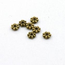 Metaal, spacer, bloem, antique goud, 4 mm (ca. 50 st.)