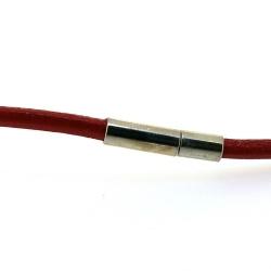 Ketting van leer, rood, 3 mm (1 st.)