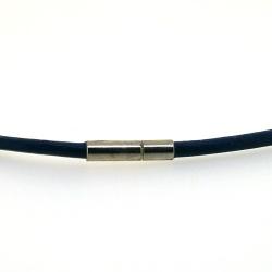 Ketting van leer, donkerblauw, 3 mm (1 st.)