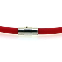 Ketting met magnetisch draaislotje, rubber, rood, 5 mm, 50 cm (1 st.)