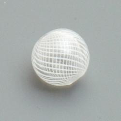 Mondgeblazen holle glaskraal, rond, wit, 13 mm (1 st.)