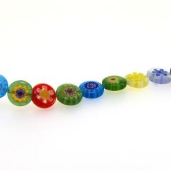 Glaskraal, rond, plat, millifiori, 10 mm (streng)