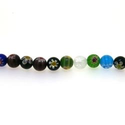 Glaskraal, rond, millifiori, 10 mm (streng)
