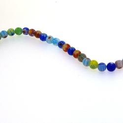 Glaskraal, rond, millifiori, 6 mm (streng)