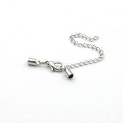 Eindkapje met karabijnslotje, antique zilver, rond, 10 mm, binnenmaat 2 mm (3 st.)